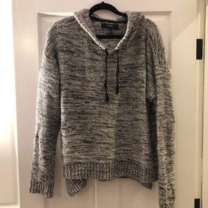 Black and white marbled knit pullover